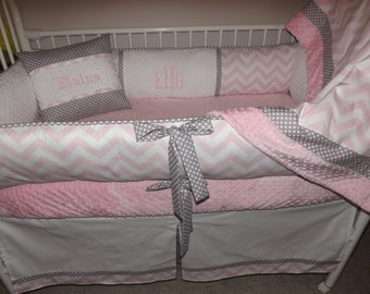 Baby bedding Girl Crib set with Light Pink  and Gray Chevron  DEPOSIT Down payment Only read details