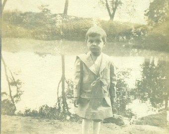 Surprised Little Boy Standing on Lake Shore Sailor Suit Antique Black and White Photo Photograph
