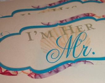 Watercolor Sea Life Wedding Chair Starfish Signs with Bride and Groom or Mr. and Mrs. for Beach Weddings Customizable
