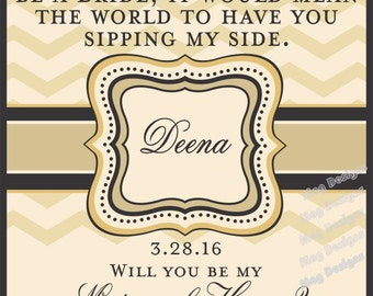 Mini Champagne Labels for Personalized Non- Photo Bridesmaid Gifts - Custom Chevron Wine Labels - Will you be my