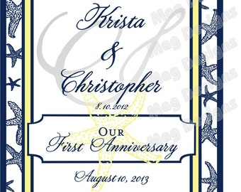 Starfish Bridesmaid and Maid of Honor Anniversary Wine Labels for Wine Bottles for your Wedding Party - Customized
