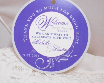 Private Listing for idojkschultz11 Wedding Hotel Gift tags 4 inch Round Purple Welcome tags for Bat Mitzvah, Destination and Weddings