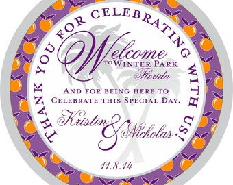 Wedding Hotel Gift tags 4 inch Round Florida Oranges Welcome tags for Bat Mitzvah, Destination and Weddings
