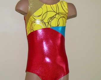 Gymnastics Dance Leotard Red/ Yellow Size 2T- Girls 10