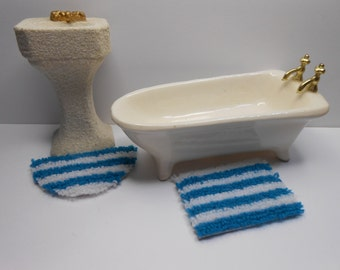 Dollhouse teal blue and white striped mini rug set rectangle and half round