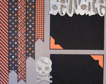 Scrapbook Layout Scrapbooking Kit Halloween Pirate Premade Pages