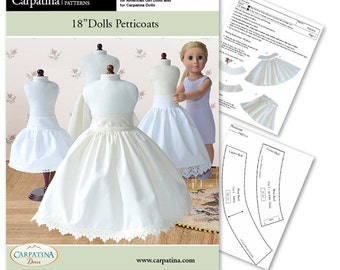 """Petticoat Underskirt Dolls Download PDF Pattern, Comes in 2 sizes: for 18"""" American Girl and slim Carpatina dolls"""