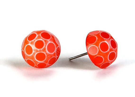 Red white polka dot cameo surgical steel hypoallergenic stud earrings (339)