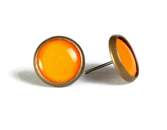 Orange hypoallergenic stud earrings (509)