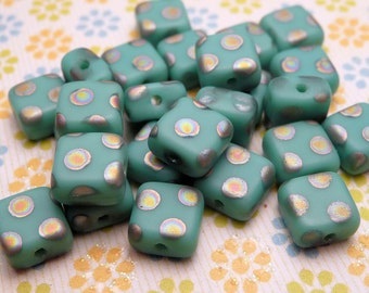 MATTE Turquoise Square Peacock Beads 5mm - 20pc
