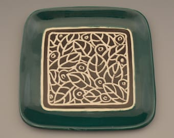 "Leaf and Berry Carved 7"" Square Plate with Teal Green Rim"