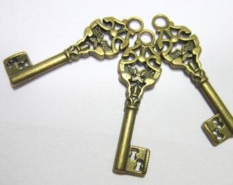10 Antique Bronze skeleton key pendant charms jewelry supply 50mm x 14.5mm EA119