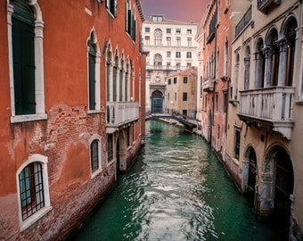 Venice Print, Italy Photography Venice Canal Photo Orange Red Travel Photograph Wall Art Home Decor Pink ven51