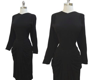 Vintage 1940s Black Hourglass Rayon Crepe Draped and Pleated Cocktail Party Dress L