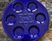Hand Crafted Ceramic Cobalt Blue Passover Seder Plate with FREE SHIPPING