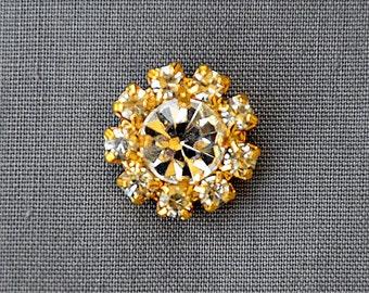 20 Rhinestone Button Brooch Embellishment Crystal Bridal Brooch Bouquet Wedding Invitation Cake Decoration Gold DIY BT598