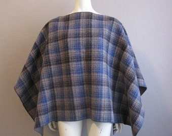70s plaid wool PONCHO cape