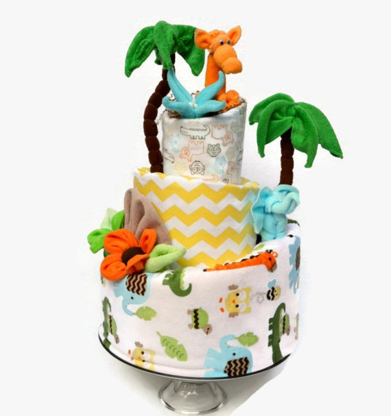 Safari Baby Shower, Safari Diaper Cake, Jungle Baby Shower, Gender Neutral Baby Gift, Jungle Shower Decor, Safari Animals Shower