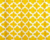 Pair of designer curtain panels drapes, Large print, Fynn geometric corn yellow and white or choose other color