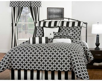 "Black and white, vertical Stripe Bed skirt,  tailored pleats, 16"" drop, 22"" drop,"