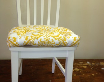 Set of 2, 4, 6, 8 tufted chair pads, seat cushions, bar stool cushions, traditions yellow and white damask