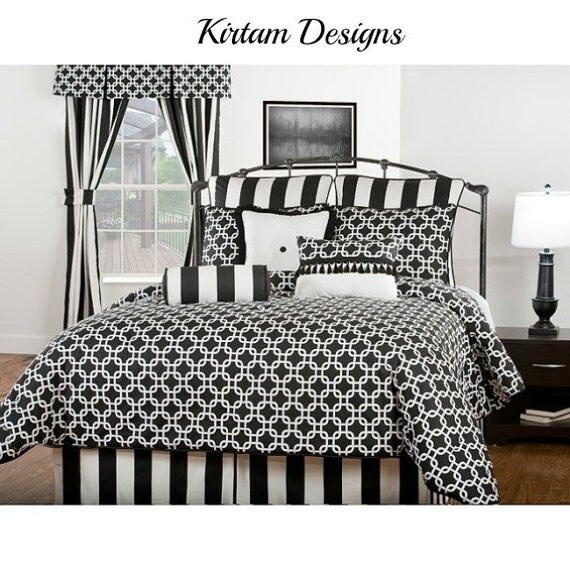 "Bedskirt with tailored box pleats black and white 3"" stripe bed skirt"