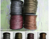 0.5mm Metallic Leather, 4 yds or more,  Cord, Thin .5 mm Metallic Leather Cord, Leather Cord, Leather Cord, Metallic cord, Leather