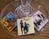 6 CUSTOM Album Cover Wine Charms YOU choose How Many and What Album Covers or Quotes You Want 'Your wine glasses deserve Cool Sassy Jewelry'