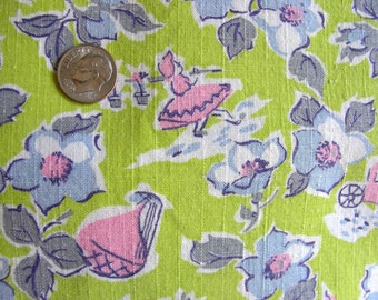 Vintage Full Cotton Feedsack Fabric // Lime Green Background with ADORABLE Young Girls, Carriages and Sailboats in PINK // 36 x 38