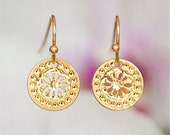 Gold earrings, flower, Modern jewelry, Greek jewelry, Dangly earrings, short earrings, flower earrings