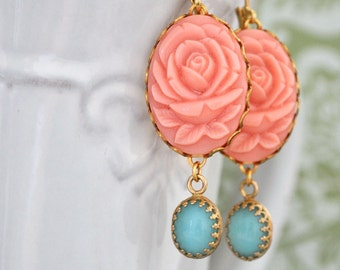 golden brass earrings - SUMMER BLUSH - coral pink resin rose flower cab earrings with vintage blue glass jewels