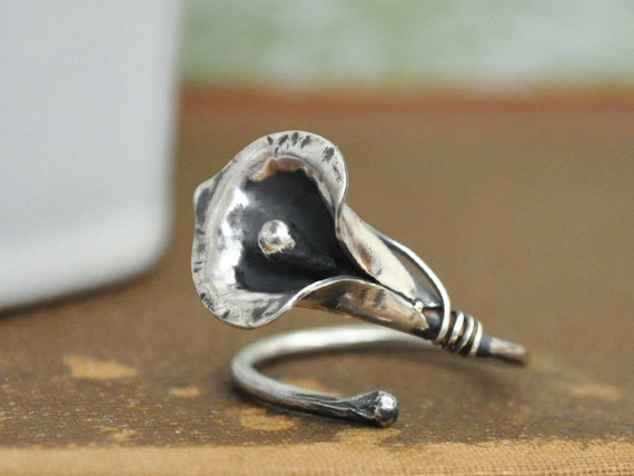 sterling silver ring, CALLA LILY RING, sterling silver flower ring adjustable large