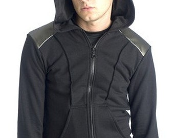 HOODIE industrial cyberpunk apocalyptic sweater with hood zip front ZOMA by FUTURSTATE futuristic steampunk style