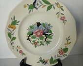 Vintage TWO Beautiful Booth Woodstock Plates Pink Green Blue Cottage Farmhouse