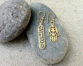 24K Gold Plate Bronze Mis-Matched Hamsa Hand and Namaste Charm earrings