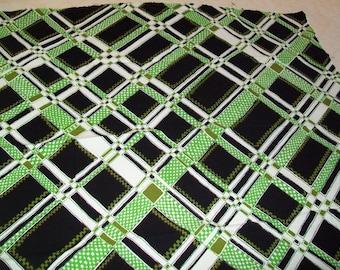 1960s Mod Op Art Cotton Pique - Vintage Fabric - Green & Black Geometrics