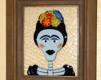 Frida - Day of the Dead Fused Glass Wall Art