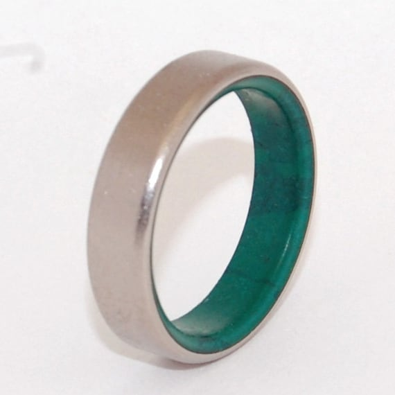 Titanium wedding ring stone ring jade ring green ring for Jade wedding ring