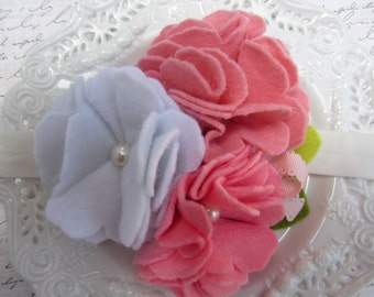 Elastic Stretch Headband with Felt Cluster Flowers