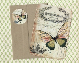 Note Cards w/Stickers, French Butterfly, Vintage Style