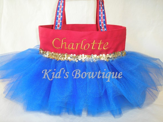 Personalized Tutu Tote Bag to Match a Wonder Woman Halloween Costume
