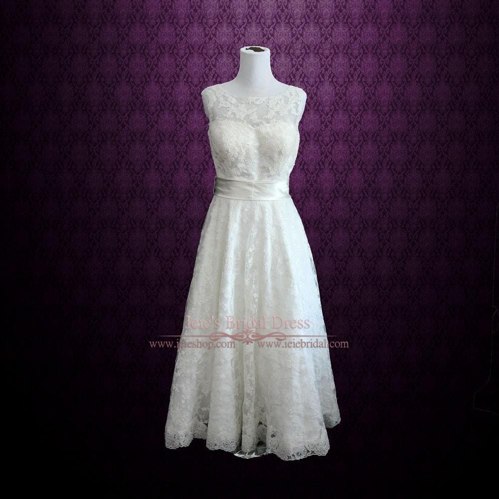 Retro boat neck lace tea length wedding dress vintage for Boat neck lace wedding dress