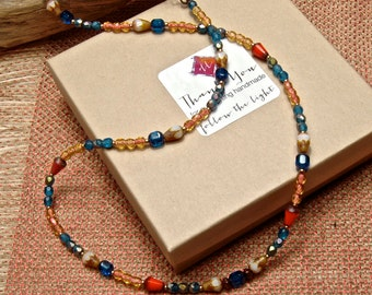 Boho Wrap,  Parrot 2,  Bright Beaded, Summer Necklace, Wrap Bracelet cbwsn46