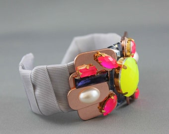 ON SALE Modern Unique SIlver Satin Cuff Bracelet with Rose Gold and Neon Embellishments