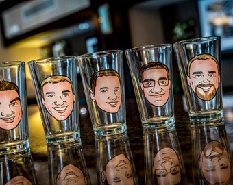 Set of 4 - Will You Be My Groomsmen Gift- Custom Groomsmen Gifts - Beer Pints -Beer Mugs-  Custom - Caricature