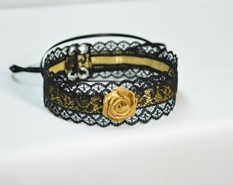 Gold Satin Baroque Choker with Lace, Gothic, Victorian and Renaissance, Gothic, Black and Golden Glamour, Castle