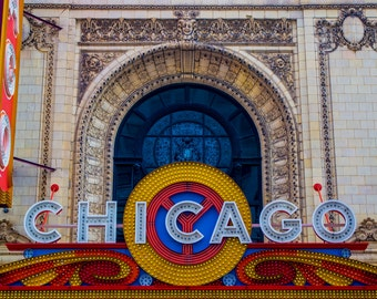 Chicago Photography   -  Chicago Theater - 11x14 Print matted to 16x20 on Kodak Professional Supra Endura Paper - Fits in standard frame