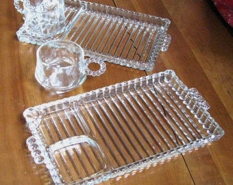Two antique luncheon sets of Hazel Atlas glass plates and cups