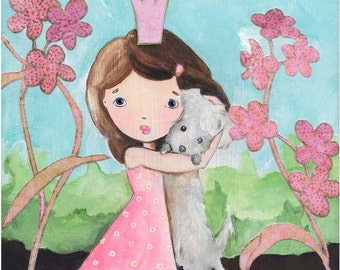 A Girl and Her Dog Girl's Best Friend Art Print