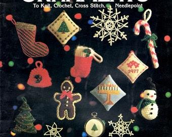 Holiday Ornaments Christmas Hanukkah Knit Crochet Needlepoint Santa Claus Star David Holy Family Gingerbread Men Craft Pattern Leaflet 107